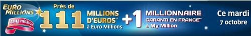 tirage Euromillions My million du mardi 7 octobre